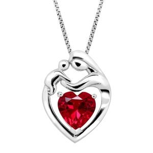 NWT 2 1/5 CT RUBY MOTHER & CHILD PENDANT